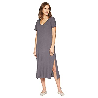 Allen Allen Short Sleeve V-Neck Long Dress (Flint) Women