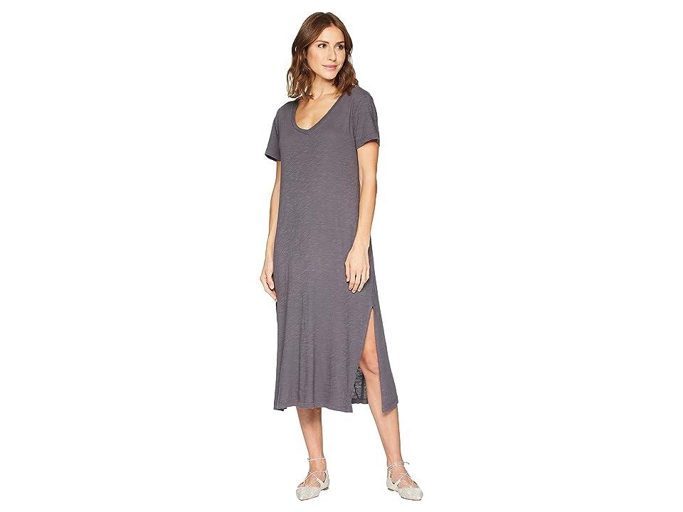 Allen Allen Short Sleeve V-Neck Long Dress (Flint) Women