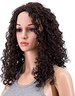 SWACC 20-Inch Long Big Bouffant Curly Wigs for Women Synthetic Heat Resistant Fiber Hair Pieces with Wig Cap (Dark Brown-4#)