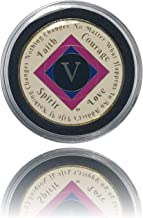 Simply Minimal 5 Year NA Gold Plated Recovery Clean Time Coin, Medallion + Plastic Display Case (Pink)