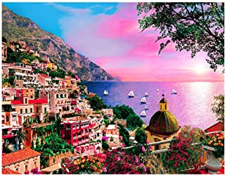 Jigsaw Puzzles for Adults 1000 Piece Puzzle Romantic Positano Seaside Town Scene Puzzles Challenging Puzzle Game