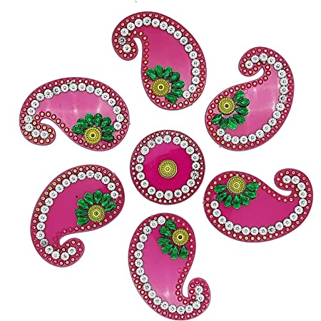 Red Ascension Handicraft Acrylic Rangoli Big Peacock Designer Rangoli