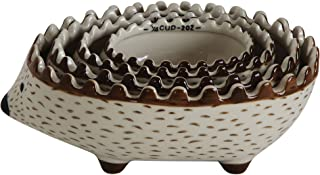 Creative Co-Op Hand Painted Stoneware Hedgehog Measuring Cups (Set of 4 Sizes)