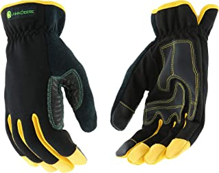 West Chester John Deere JD00029 High Dexterity Synthetic Leather Palm Utility Work Gloves with Touch Screen: Black/Yellow, Medium, 1 Pair