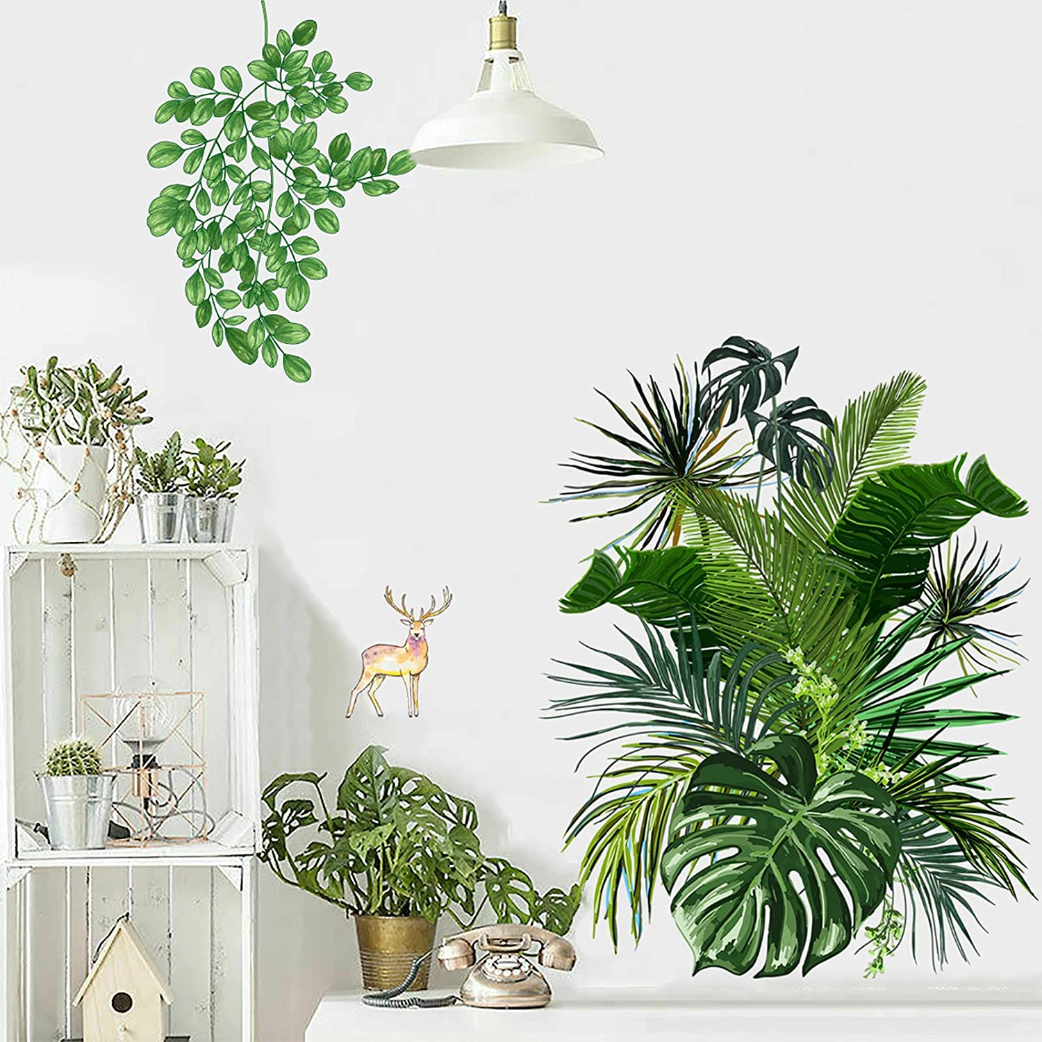 Green Plants Fresh Leaves Wall Decals, Monstera Leaf Tropical Plants with Sika Deer Wall Decals, Removable Hanging Tree Vine Wall Stickers, DIY Art Décor Murals Wallpaper for Bedroom, Nursery, TV Wall