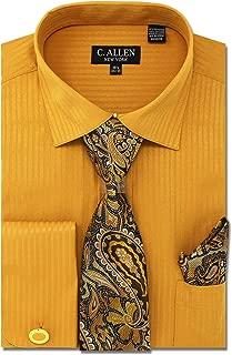C. Allen Men's Regular Fit Dress Shirts with Tie & Handkerchief Cufflinks Combo Solid Striped Pattern