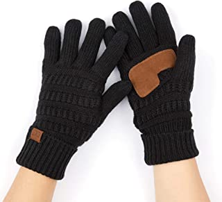 Hatsandscarf C.C Exclusives Unisex Knit Thick Warm Fuzzy Lined Solid Ribbed Glove with Smart Tips (G-25)