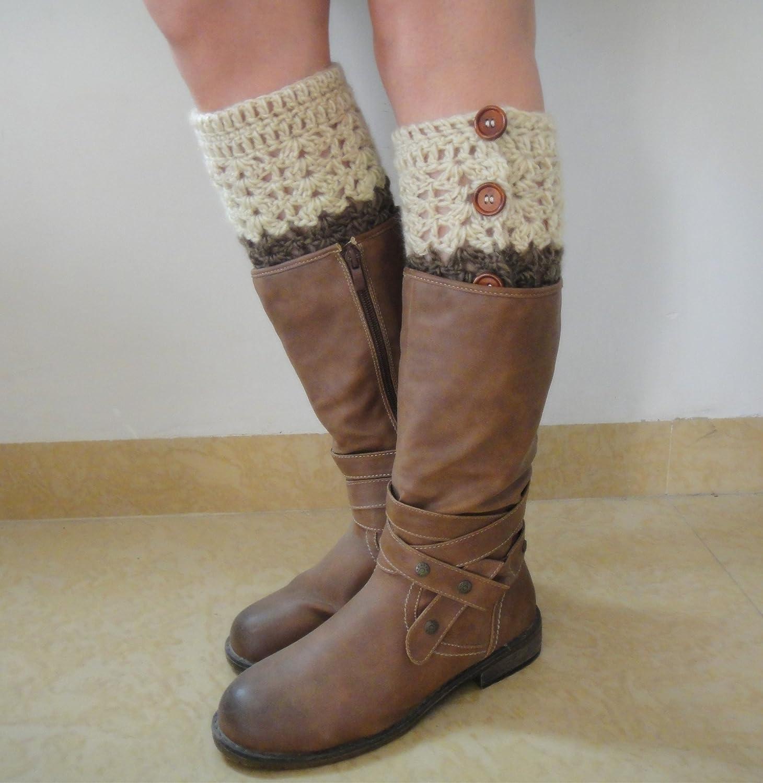 tinacrochetstudio Reversible Two Tone Leg Warmers Handmade Crochet Boot Cuff with Wooden Button Down