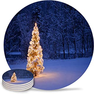 Coasters for Drinks Merry Christmas Glowing Christmas Tree on Fir Snowfall Winter Evening Round Drinks Absorbent Stone Coaster Set With Ceramic Stone and Cork Base for Kinds of Mugs and Cups,4 Pcs Set