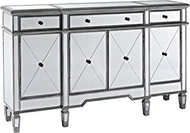 Powell Company Mirrored 4-Door 3-Drawer Console