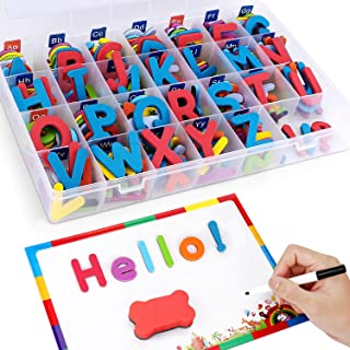 HOWADE Magnetic Letters 208 PCS with Magnetic Board and Storage Box - Uppercase Lowercase Foam Alphabet ABC Magnets Educat...