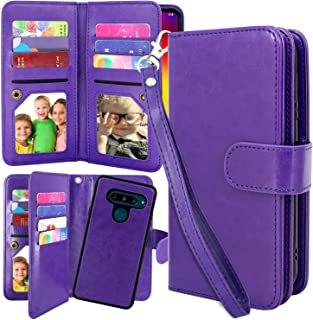 Harryshell Detachable Magnetic 12 Card Slots Wallet Case Shockproof PU Leather Flip Protective Cover Wrist Strap Compatible with LG V40 ThinQ / V40 (Purple)