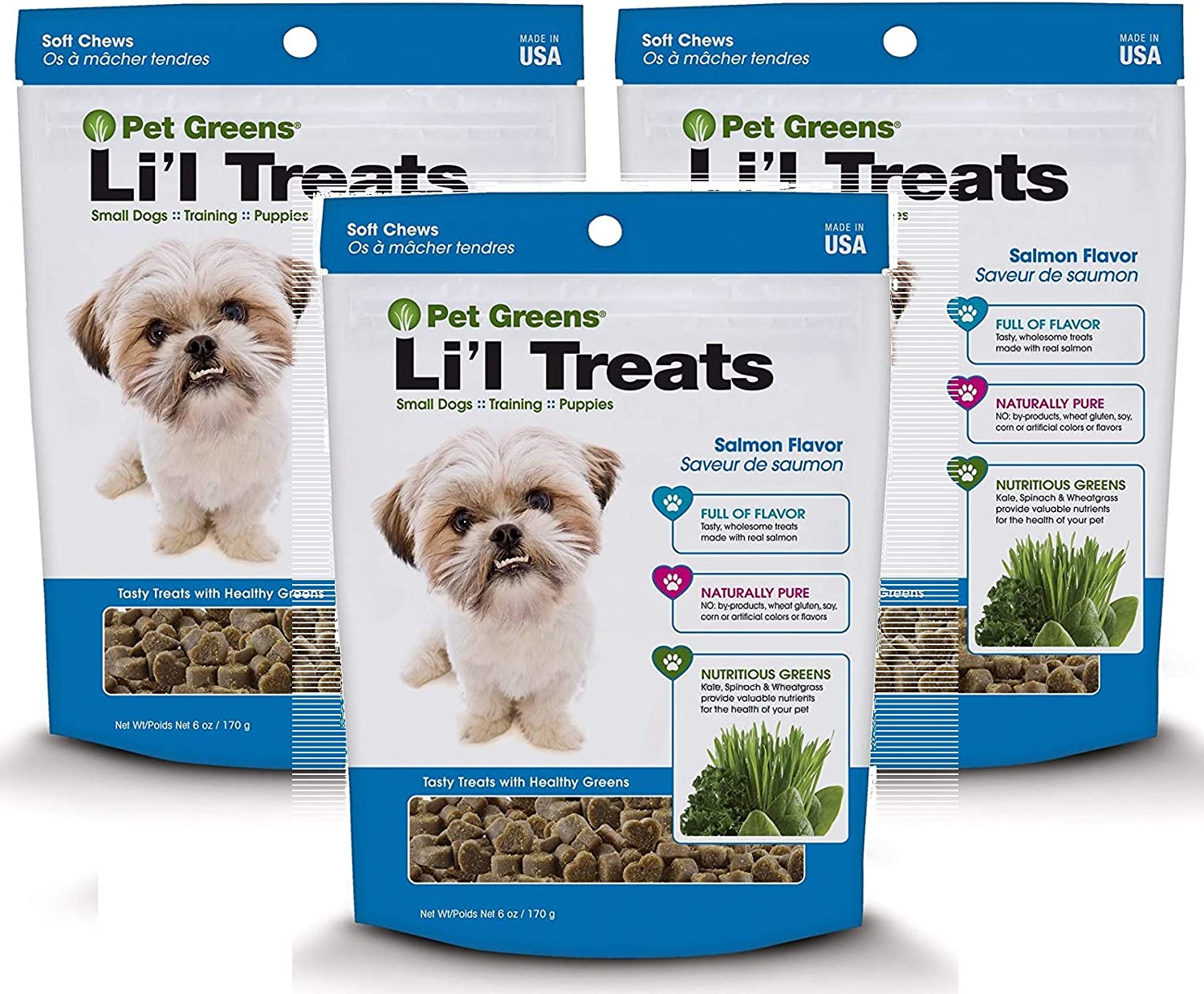 Pet Greens 3 Pack of SoftChew Li'l Treats for Small Dogs and Puppies, Salmon Flavor, 6 Ounces Per Pack