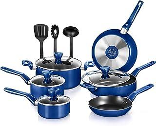 NutriChef 13 Pcs. Nonstick Kitchen Cookware PTFE/PFOA/PFOS-Free Heat Resistant Kitchenware Set w/Saucepan, Frying Pans, Co...