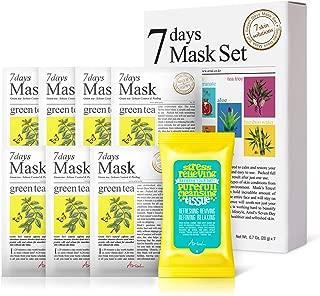 Ariul Natural Green Tea Sheet Mask Pack for Exfoliation, Sebum Control & Peeling, 7 Days Mask Multipack (7 Masks + 15 Wipes) Anti-bacterial, Anti-inflammatory, Improve Skin Complexion, Fight Aging