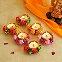 Tied Ribbons Tealight Candle Holder for Home Décor Flower Studded Candle Holders for Diwali Decoration (Pack of 6) - Diwal...