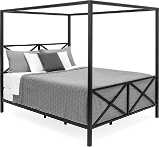Best Choice Products Modern 4-Post Queen-Sized Canopy Bedframe, Black