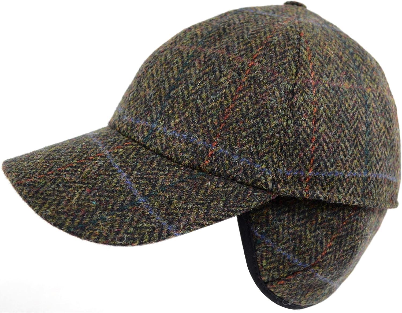 Mens 100% Wool Tweed Shooting Baseball Cap with Fold Down Ear Flaps - Dark Brown - Extra Large