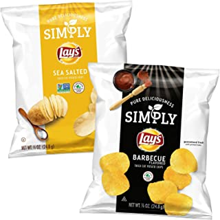 Simply Lay's Thick Cut Potato Chip Variety Pack, Classic & BBQ, 36 Count