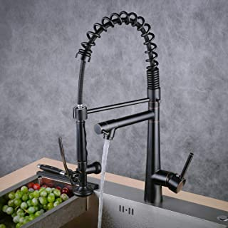 Kitchen Sink Faucet, High Arc Commercial Pre-Rinse Kitchen Faucet with Pull Down Spring Spout and Pot Filler,Oil Rubbed Bronze Beelee BL17092B