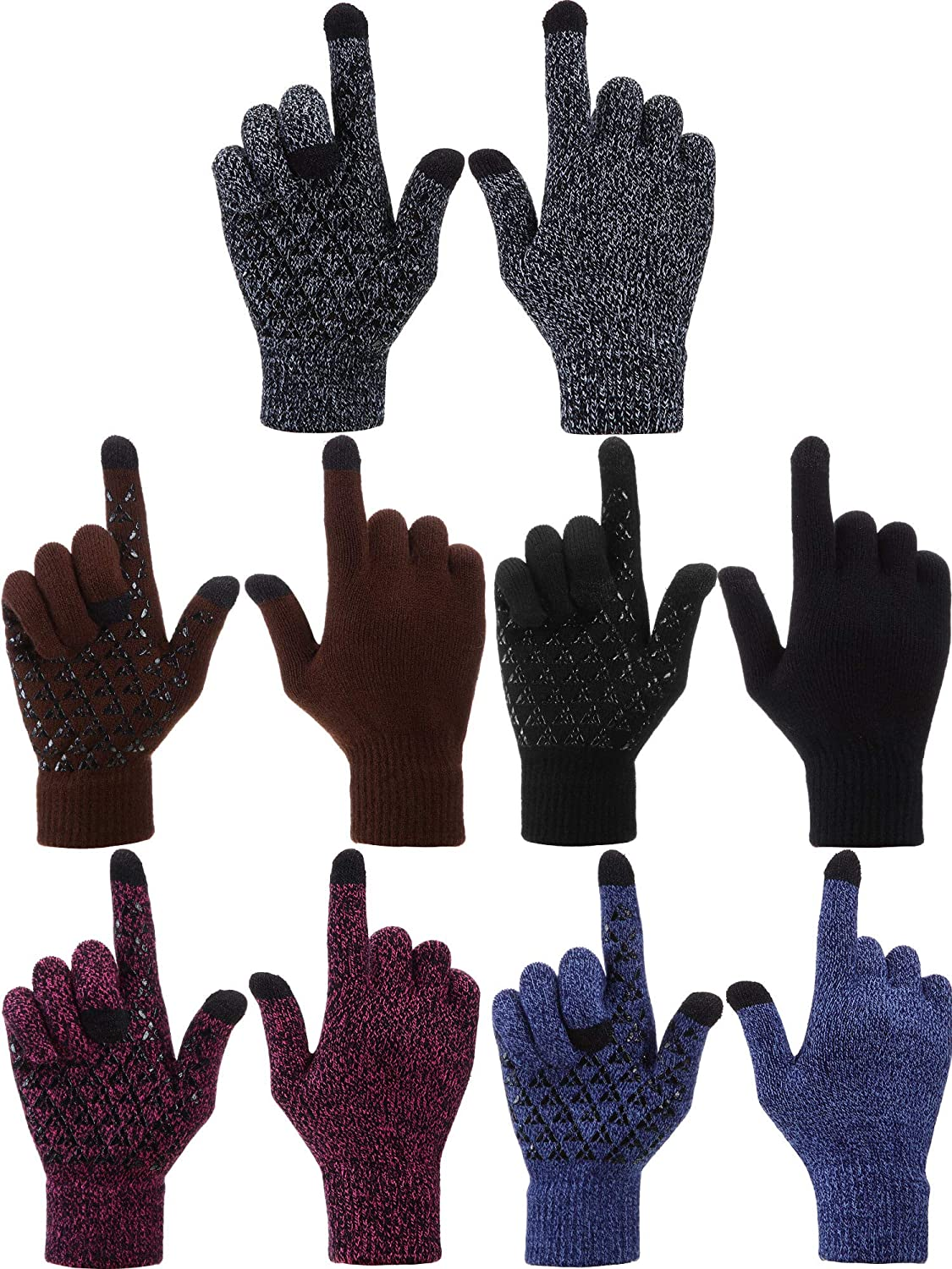 5 Pairs Winter Warm Knitted Gloves Touchscreen Texting Anti-Slip Palm Gloves for Women Men