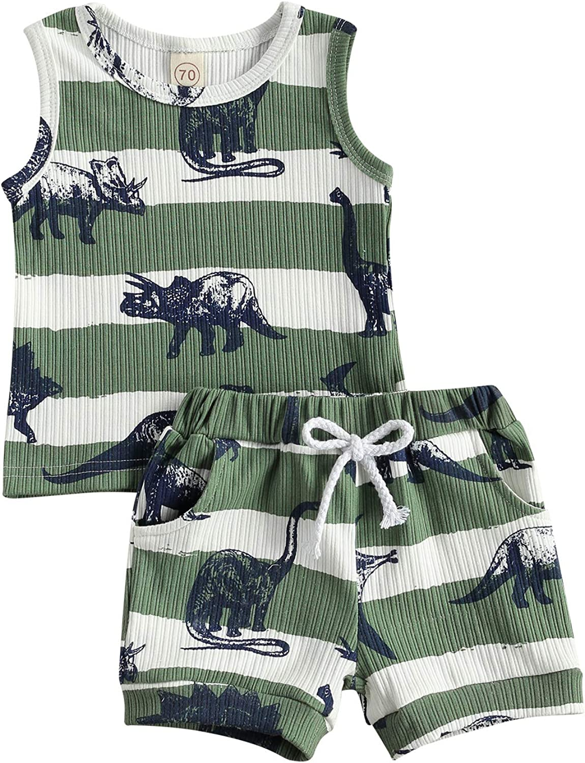 Infant Newborn Baby Boy Summer Clothes Sleeveless Dinosaur Ribbed Tank Top Shorts Pants 2pc Casual Outfit Set