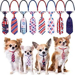 Skylety 8 Pieces Independence Day Dog Necktie Adjustable Patriotic Pet Dog Bowtie USA Flag Puppy Cat Collar Bows 4th of Ju...