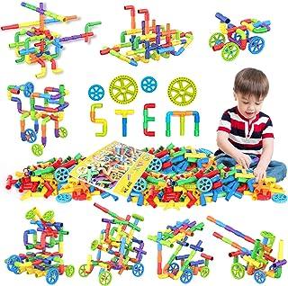 WishaLife 250 Pieces Toy Pipe, Tube Locks Set, Tubular Spout Construction Building Blocks Set, Fun Educational STEM Buildi...