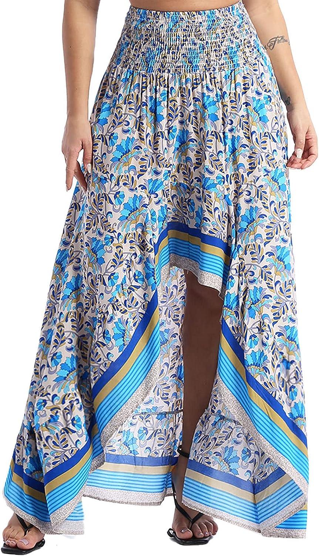 ranrann Women's Casual Floral Print Asymmetrical Hem Skirt High Low Maxi Dress Holiday Beach