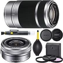 Sony E PZ 16-50mm f/3.5-5.6 OSS Lens (SELP1650) + Sony E 55-210mm f/4.5-6.3 OSS Lens (SEL55210) (Silver) + AOM Pro Starter Combo - International Version (1 Year AOM Warranty)