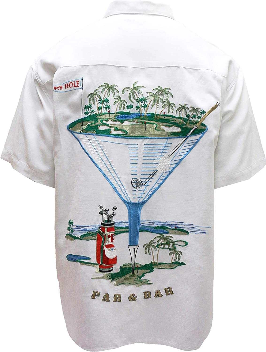 Bamboo Cay Men's Short Sleeve Par and Bar Casual Embroidered Woven Shirt