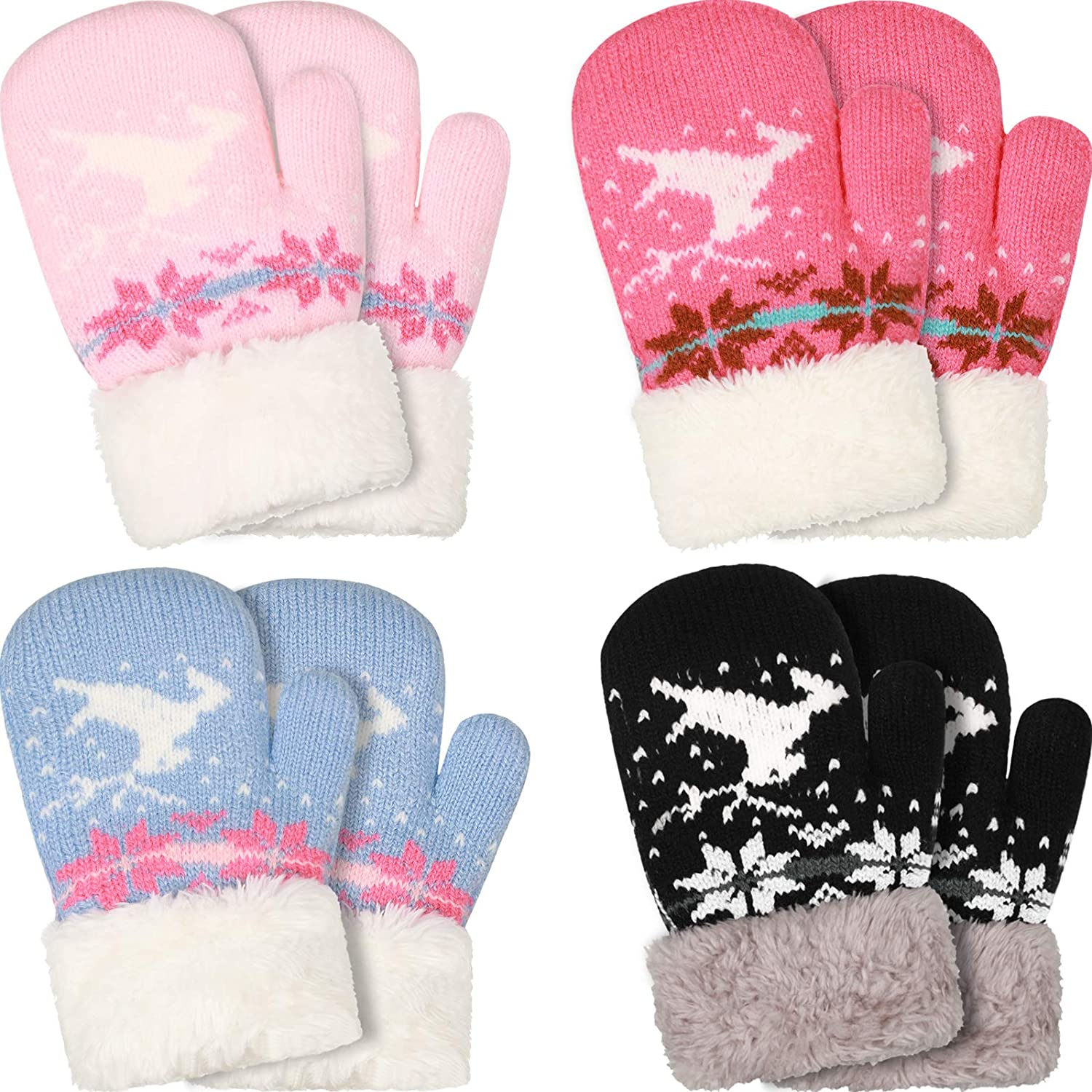 4 Pairs Kids Winter Sherpa Mitten Gloves Knit Thick Gloves Cute Reindeer Snowflake Gloves for Boys Girls Toddler