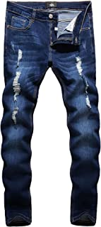 Men's Ripped Skinny Distressed Destroyed Slim Fit Stretch Biker Jeans Pants with Holes