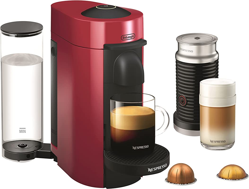 Nespresso ENV150RAE VertuoPlus Coffee And Espresso Machine Bundle With Aeroccino Milk Frother By De Longhi Red