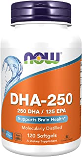 NOW Supplements, DHA-250 with 125 EPA, Molecularly Distilled, Supports Brain Health*, 120 Softgels