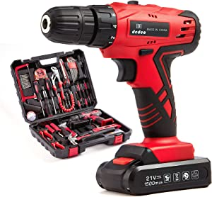 Dedeo Tool Set with Drill, Cordless Hammer Drill Tool Kit 110Pcs Household Power Tools Drill Set with 21V Li-Ion Battery & Charger for Home Tool Kit