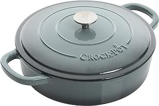 Crock Pot 112001.02 Artisan 5 Quart Enameled Cast Iron Braiser Pan, Slate Grey