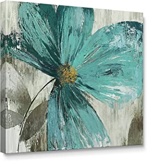 Niwo Art (TM - Teal Flower B, Floral Painting Artwork - Giclee Wall Art for Home Decor,Office or Lobby, Gallery Wrapped, Stretched, Framed Ready to Hang (16