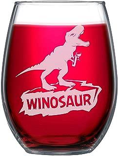 NeeNoNex Winosaur Stemless Wine Glass - Gift for Wine Lover