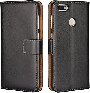 "Huawei Y6 Pro (2017)/Enjoy 7 Wallet Case, Jaorty Genuine Leather Folio Flip Wallet Case Cover Book Design with Kickstand Feature & Magnetic Closure & Card Slots/Cash Compartment (5.0"")-Black"