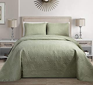 MK Home Mk Collection 3pc King/California King Solid Embossed Bedspread Bed Cover Over Size Light Green New