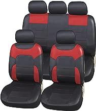 upgrade4cars Fundas Asiento Coche Poli-Piel Rojo Negro | Funda Asientos para Delanteros & Traseros | Accesorios Coches Interior Decoracion