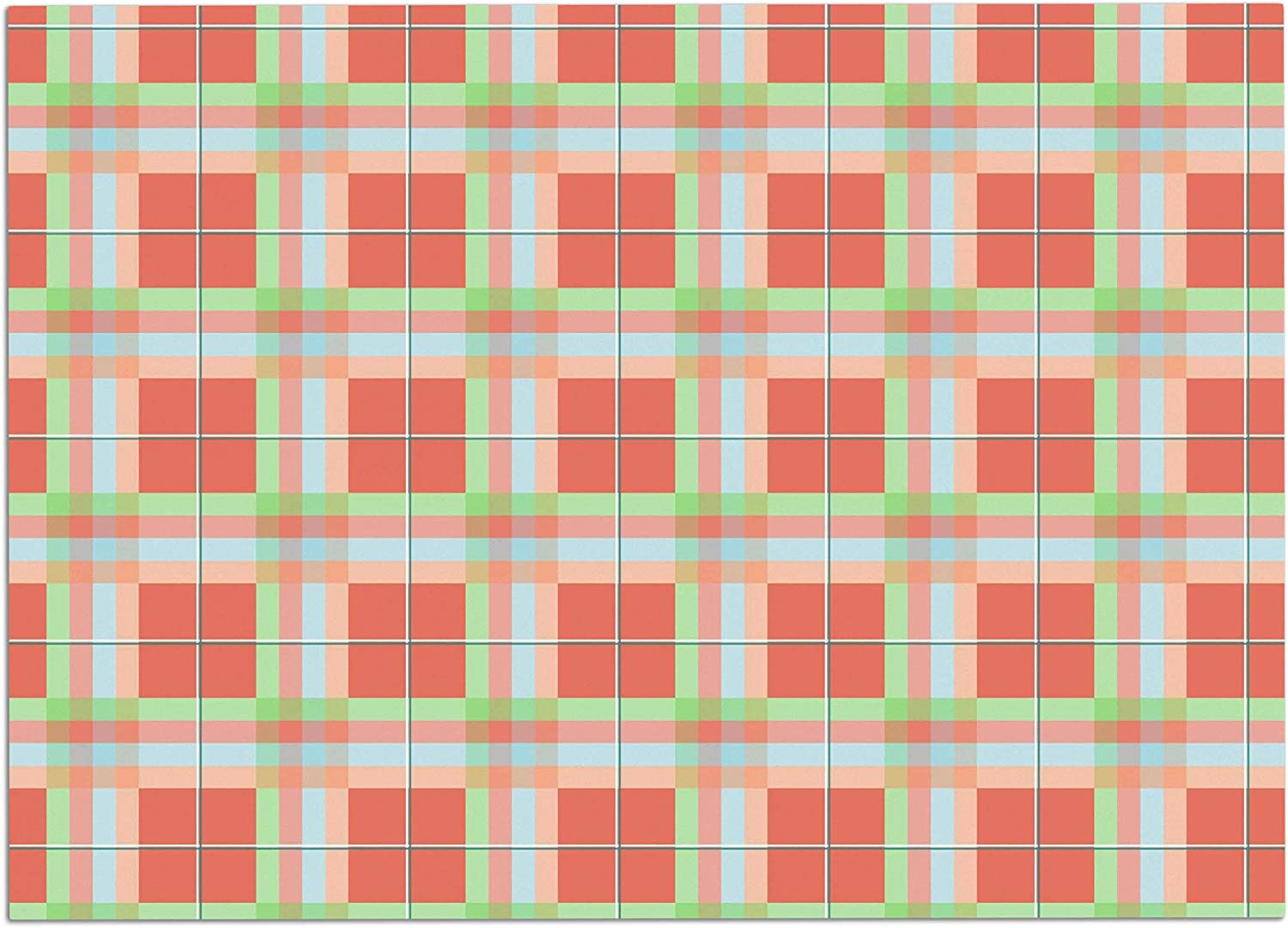 KESS InHouse AF3004ADM02 afe Images Summer Plaid Pattern Coral Pattern Dog Place Mat, 24 x15
