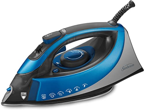 popular Sunbeam discount Turbo Steam 1500 Watt XL-size Anti-Drip Non-Stick Soleplate Iron with Shot outlet sale of Steam/Vertical Shot feature and 10' 360-degree Swivel Cord, Grey/Blue, GCSBCS-200-000 online sale