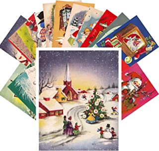 Vintage Christmas Greeting Cards 24pcs Christmas Visits and Warm Wishes REPRINT Postcard Pack