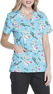 Disney's Frozen Women's Mock Wrap Olaf Printed V-Neck Scrub Top