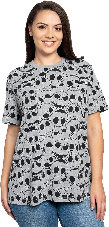 Disney Jack Skellington Womens Plus Size T-Shirt All Over Print