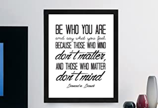 "Bernard Baruch Inspirational Typography Quote B+w Print ""Be Who You Are"" Wall Décor Illustration 8x10 Framed w/ MAT"