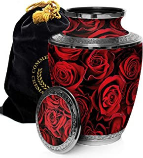 Crimson Rose Cremation Urns for Adult Ashes for Funeral, Burial, Niche or Columbarium, 100% Brass, Cremation Urns for Human Ashes Adult 200 Cubic inches (Crimson Rose, Extra Large)