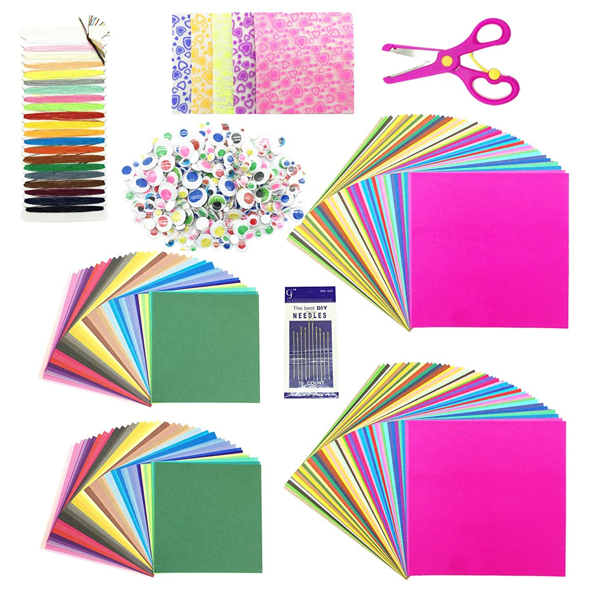 Wartoon 250 Pcs Origami Paper Folding Paper, 200 Sheet Origami Paper and 50 Luminous Sheet Single-Sided with Googly Wiggle Eyes Scissors Needle Thread